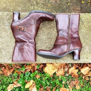 Born leather heeled boots mid calf brown size 8